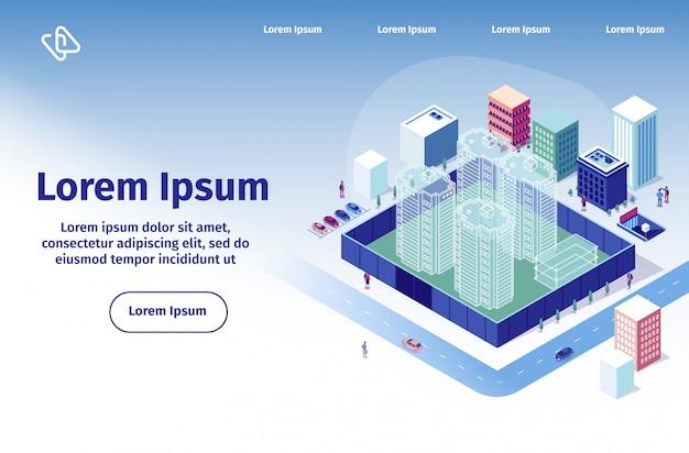 Construction company vector landing page template Premium Vector