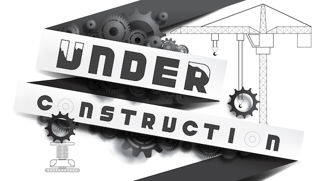 Under construction concept. black and white, paper cut style mixed with pencil drawing Premium Vector