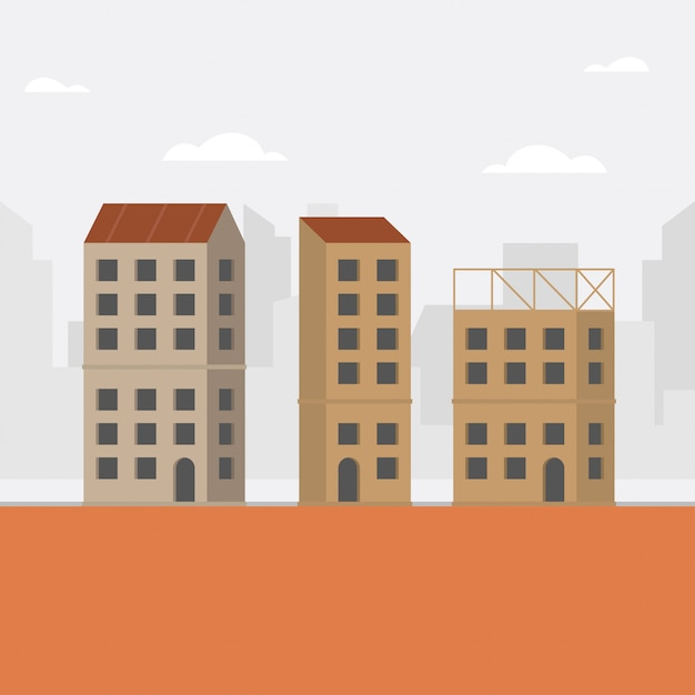 Construction concept illustration with unfinished building Premium Vector