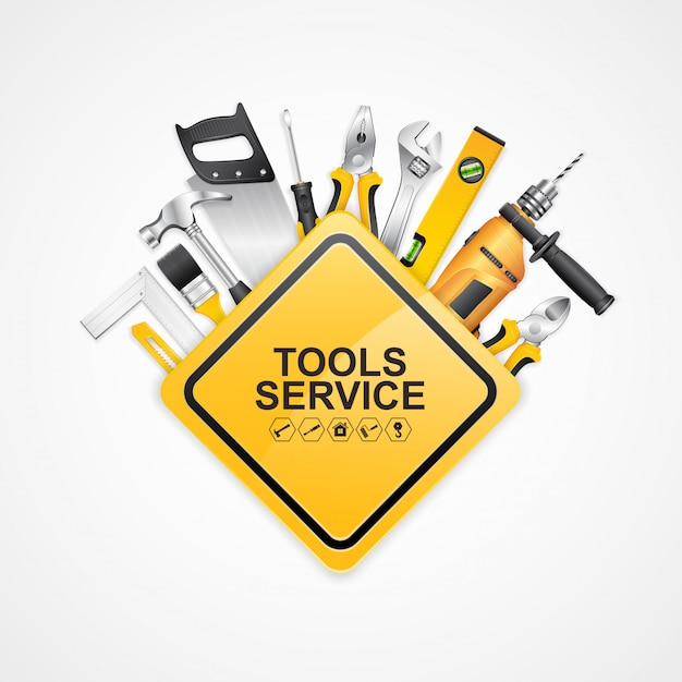 Construction concept set tools supplies for construction builder Premium Vector