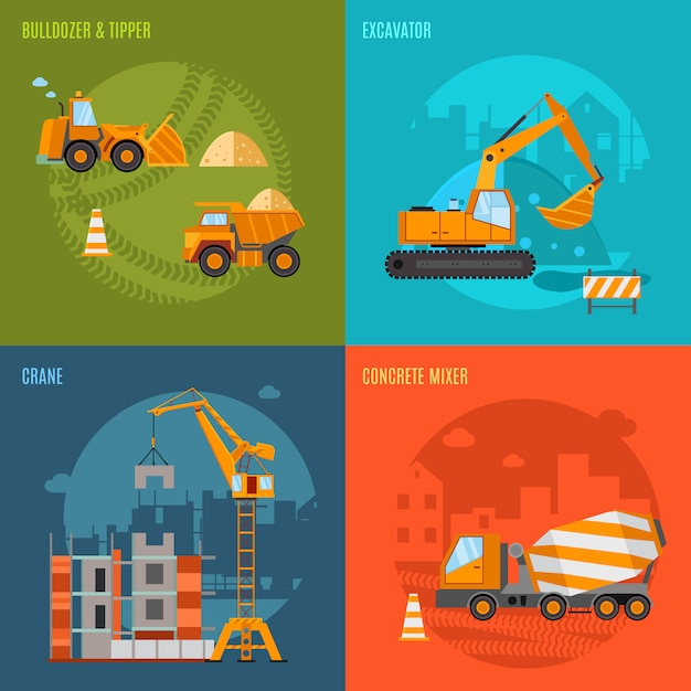 Construction concept set Free Vector