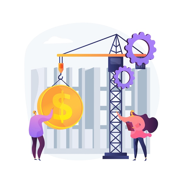 건설 비용 추상적 인 개념 그림. 프로젝트 관리, 은행 대출, 부동산 사업, 디자인 프로젝트, 건물 투자, 계약자 서비스, 리노베이션 무료 벡터
