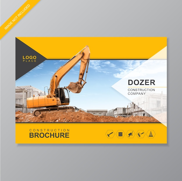 Construction cover brochure template Premium Vector