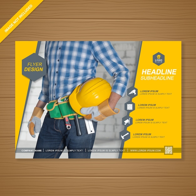 construction cover flyer design template vector premium download