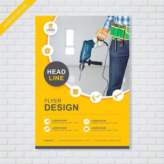 Construction cover flyer template Premium Vector