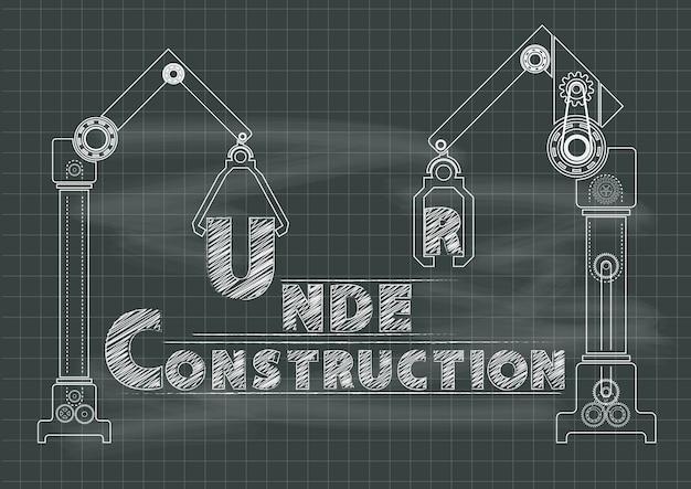 Under construction crane gears and cogs chalkboard Premium Vector