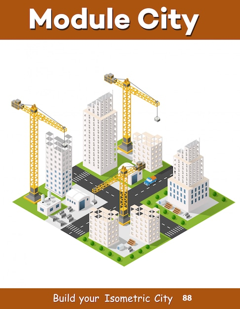 Construction crane heavy Premium Vector