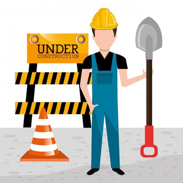 Under construction design. Premium Vector
