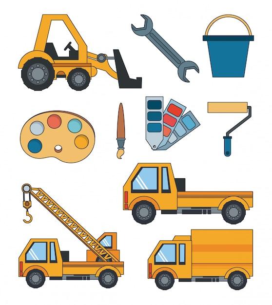 Construction engineer heavy tools cartoon Free Vector