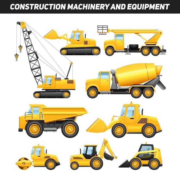 Construction equipment and machinery with\ trucks crane and bulldozer