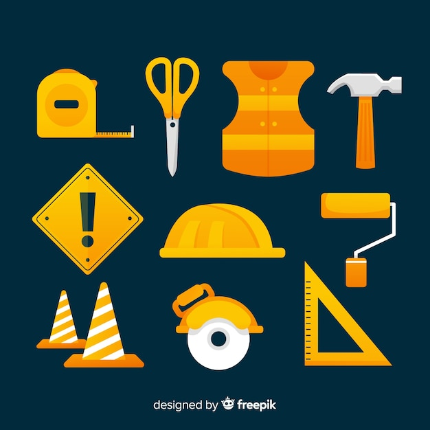 Construction equipment collection Free Vector