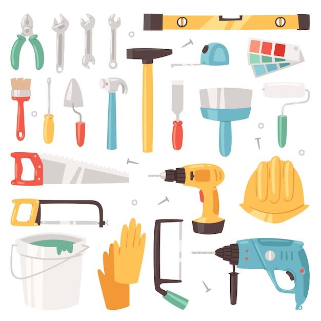 흰색 배경에 고립 된 목수 도구 상자 세트의 망치와 드라이버 그림 빌더 또는 생성자의 건설 장비 건설 도구 프리미엄 벡터