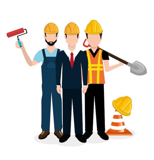 Construction equipment design Premium Vector