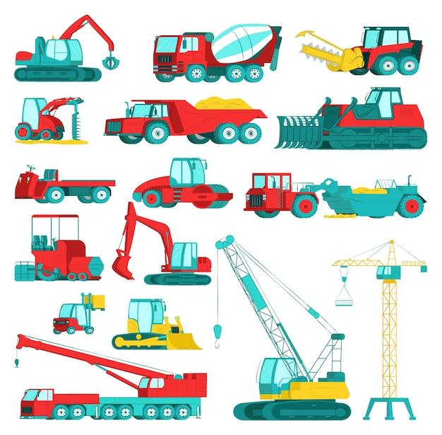 建設機械、重鉱山機械セット、イラスト。掘削機、トラクター、ダンプトラック、ブルドーザー、ローダー、車両。産業建設機械、輸送。 Premiumベクター