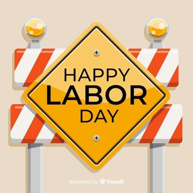 Construction fence labor day background Free Vector