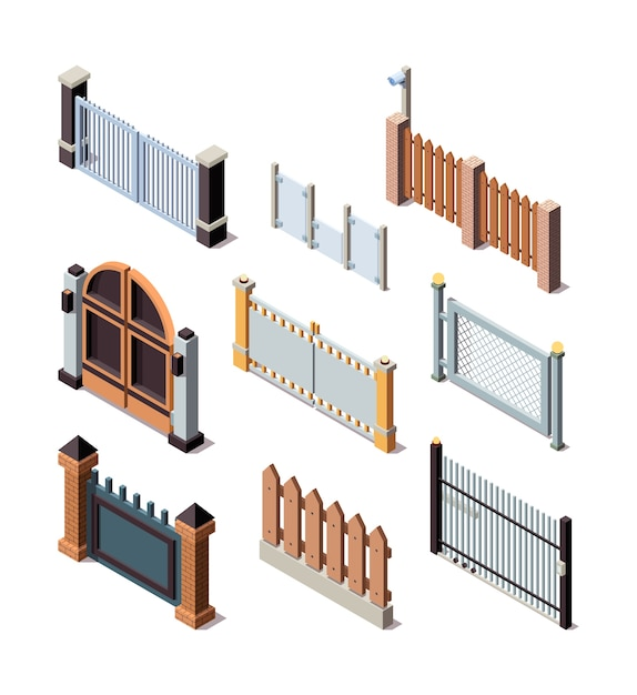 Construction fences. garden door gate metals or wooden panels railing fences vector isometric. illustration barrier and border for protection fence Premium Vector