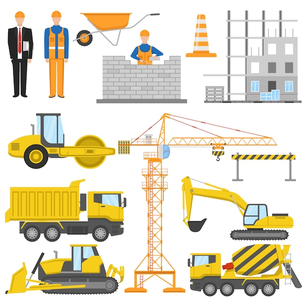 Construction flat elements set with architect and worker building machinery and materials barrier system isolated Free Vector