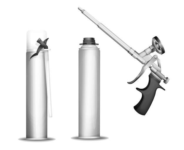 Бутылка для вспенивания пенопластового пистолета 3d-пушки или пистолета и металлических контейнеров Бесплатные векторы