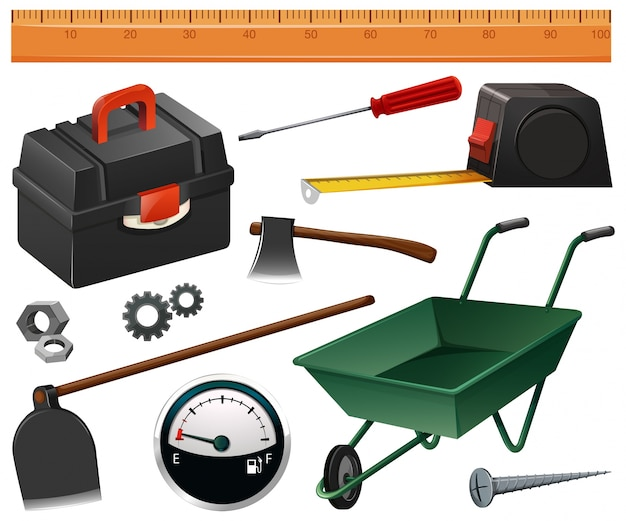 Construction and gardening tools illustration Free Vector
