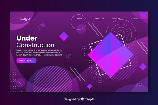Under construction geometric landing page with gradient Free Vector