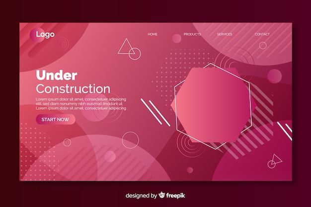 Under construction gradient landing page with geometric shapes Free Vector