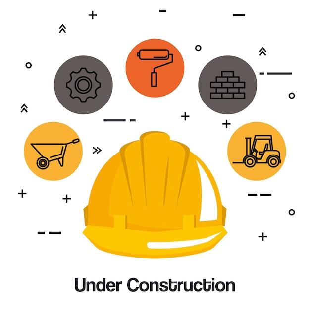 Under construction helmet hard work tools icon Premium Vector