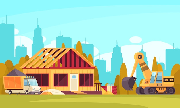 Construction horizontal background with truck of concrete and excavator near unfinished cottage flat  illustration Free Vector