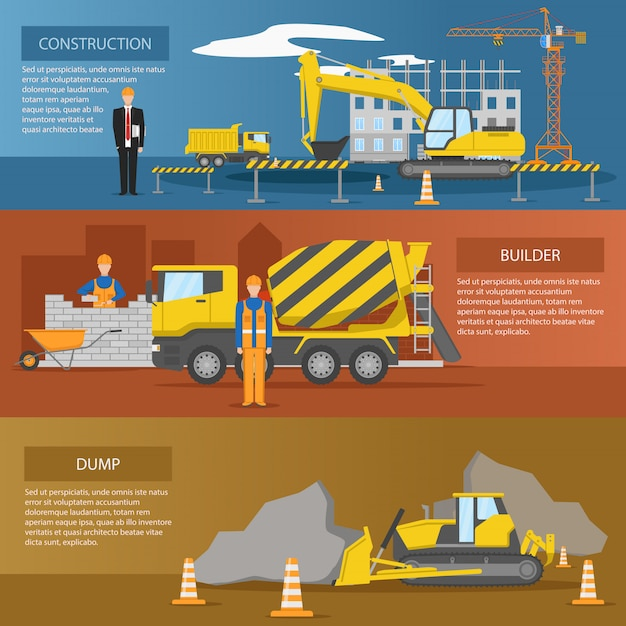 Construction horizontal banners set with process of facility creation work of builders dump isolated Free Vector