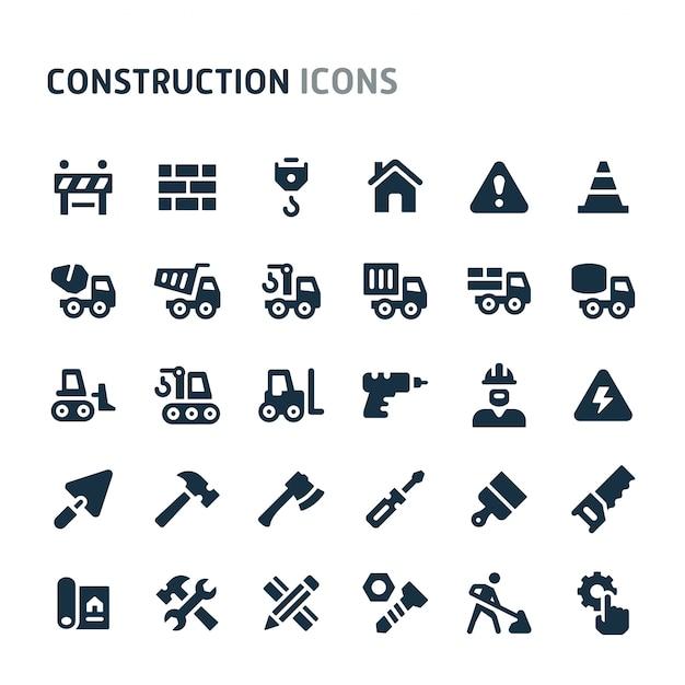 Construction icon set. fillio black icon series. Premium Vector
