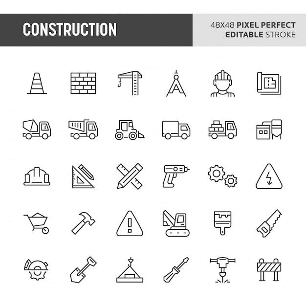 Construction icon set Premium Vector