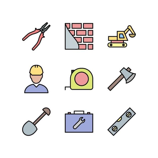Строительные иконки, изолированные на белом Premium векторы