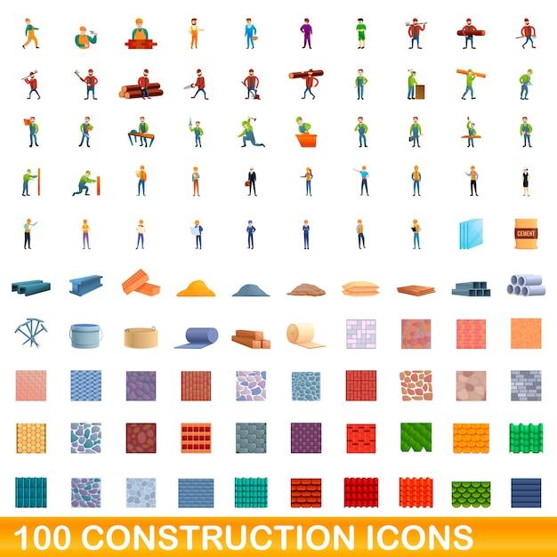 Набор строительных иконок. иллюстрации шаржа строительных иконок на белом фоне Premium векторы