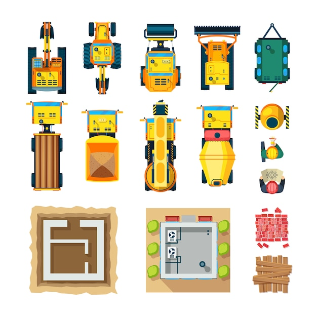 Construction icons set top view Free Vector