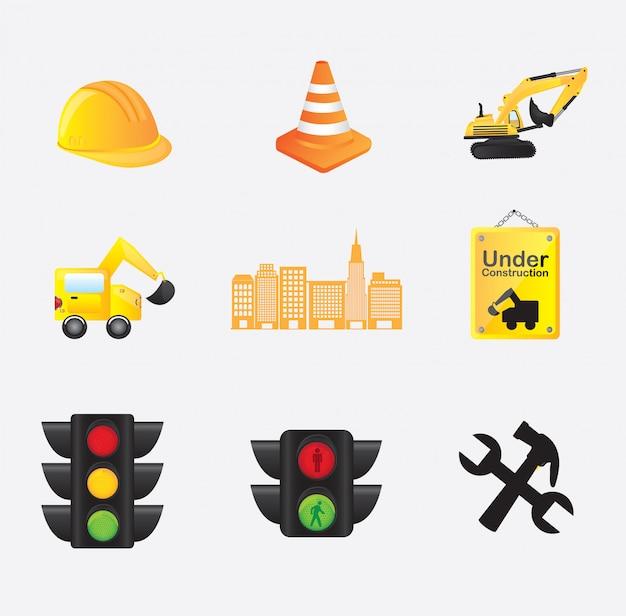 Construction icons Premium Vector