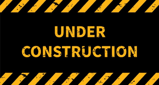 Under construction industrial sign. black and yellow line striped background. Premium Vector