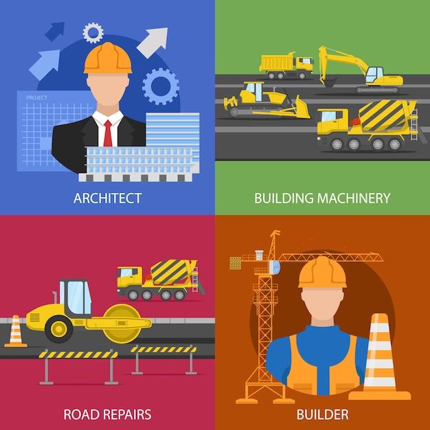 Composizioni nell'industria dell'edilizia con il lavoratore architettonico di riparazioni della strada del macchinario di costruzione di progetto isolato Vettore gratuito