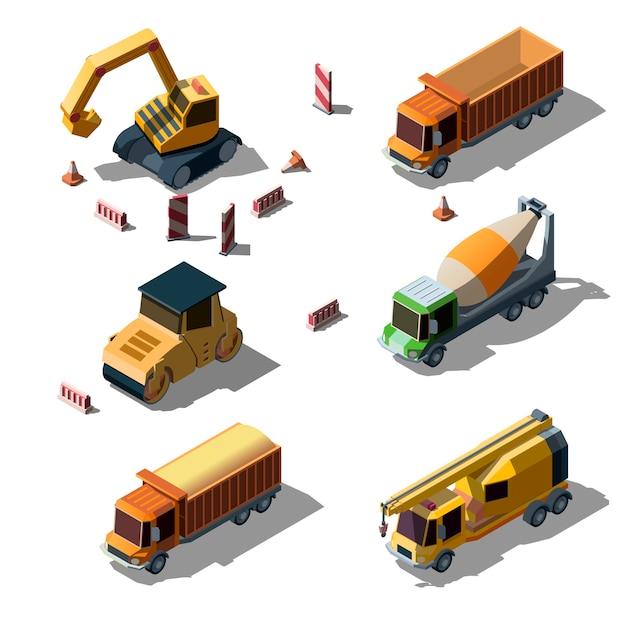 Stile isometrico di camion di industria edile. Vettore gratuito