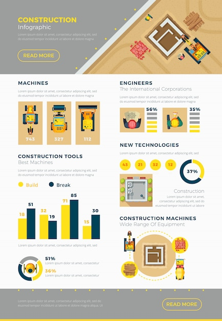 Construction infographic set Free Vector