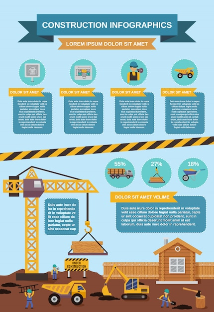 Construction infographics set Free Vector