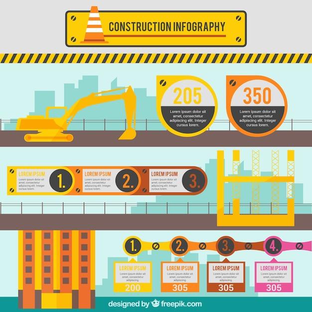 Costruzione infografia in design piatto Vettore gratuito