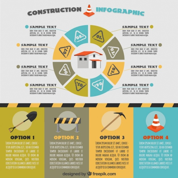 Construction infography with circular graph vector free for Construction info