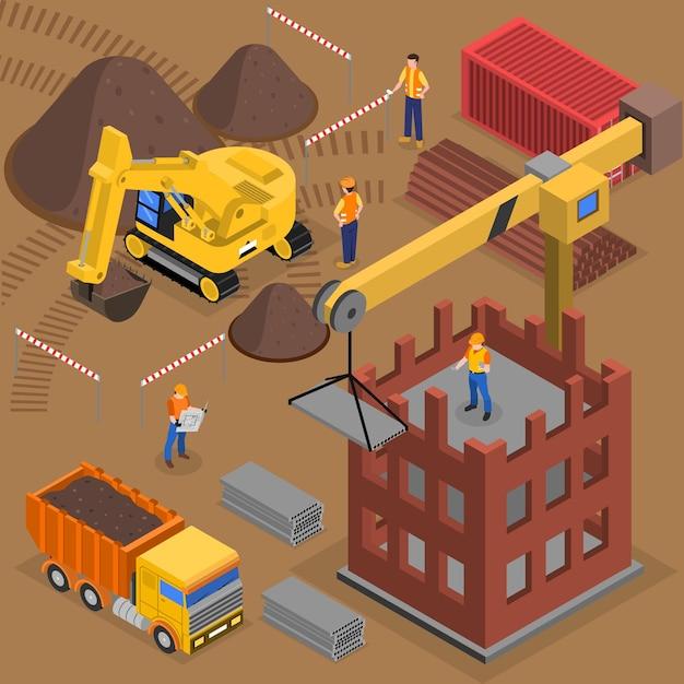 Composizione isometrica della costruzione con i lavoratori del macchinario di costruzione e la gru vicino al grattacielo in costruzione Vettore gratuito
