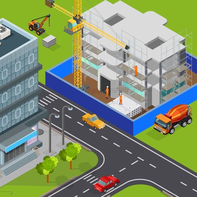 Construction isometric composition with outdoor view of modern city streets cars and house block under construction vector illustration Free Vector