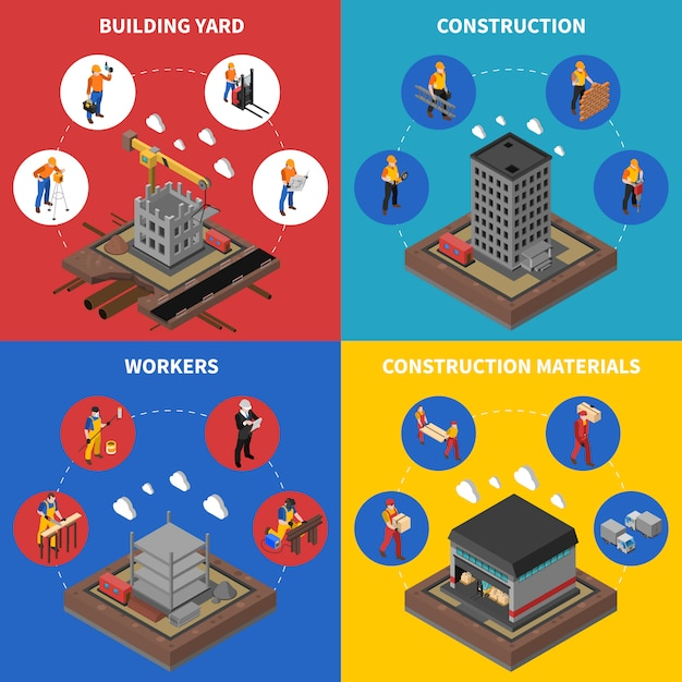 Construction isometric concept icons set Free Vector