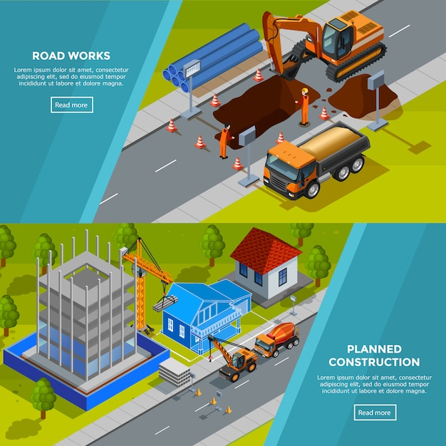 Construction isometric horizontal banners Free Vector