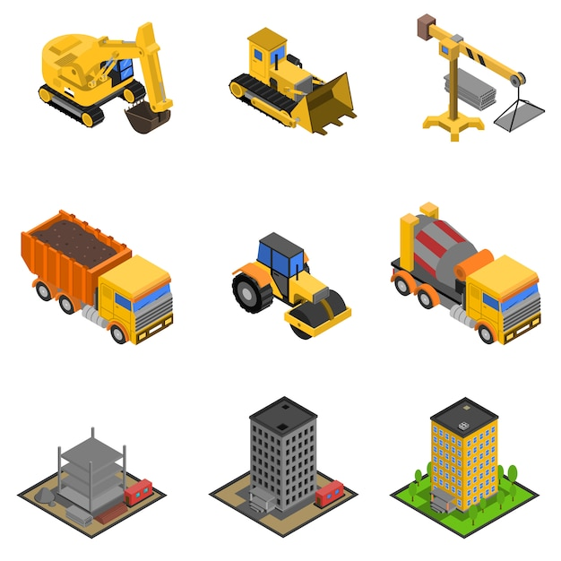Construction isometric icons set Free Vector