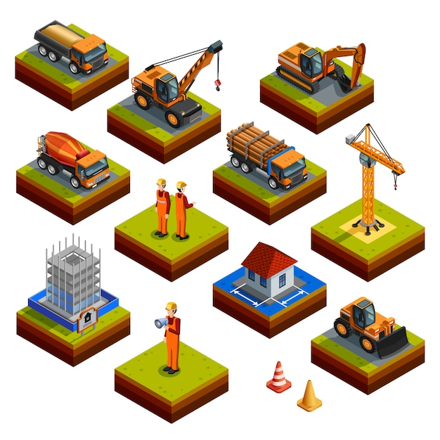 Construction isometric isolated icons Free Vector