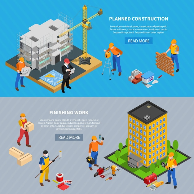 Construction isometric set of two horizontal banners with building images editable text and read more button Free Vector