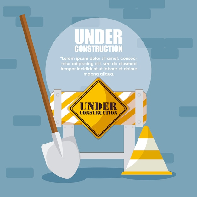 Under construction label with barricade fence Premium Vector