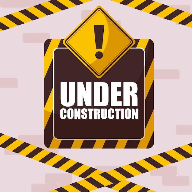 Under construction label with caution tape Premium Vector